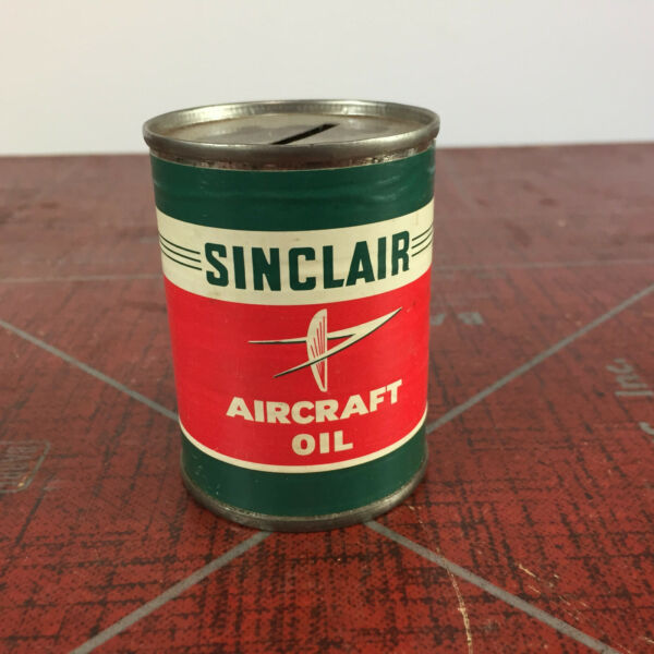 Rare Vintage Sinclair Aircraft Oil Tin Can Bank Paper Label Airplane Aviation