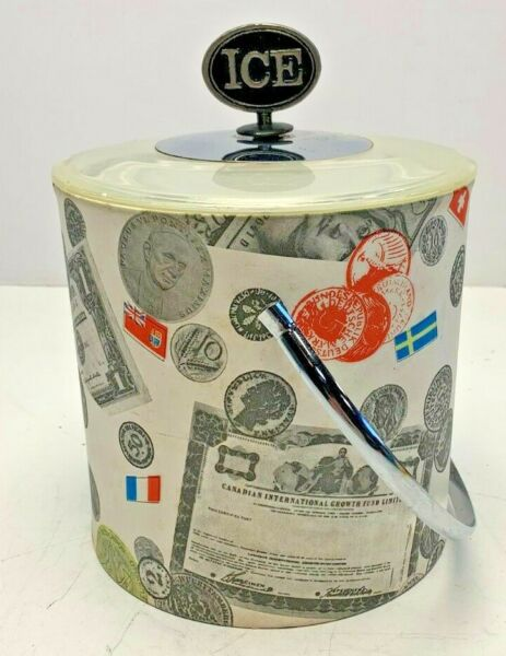 Vintage Thermo Temp Mid Century Ice Bucket with European Money and Flags. MCM