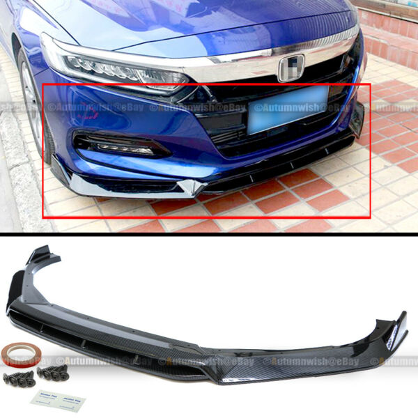 For 18 20 Accord 4Pcs Carbon Fiber Painted Sport Style Front Bumper Lip Spoiler $64.99
