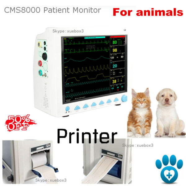 Portable Patient Monitor Vital Signs VET Monitor 6 parameters Printer for Animal