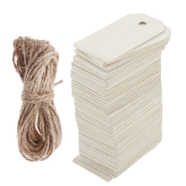 50pcs Blank Wooden Label Unfinished Blank Wedding Party DIY Wood Gift Tags