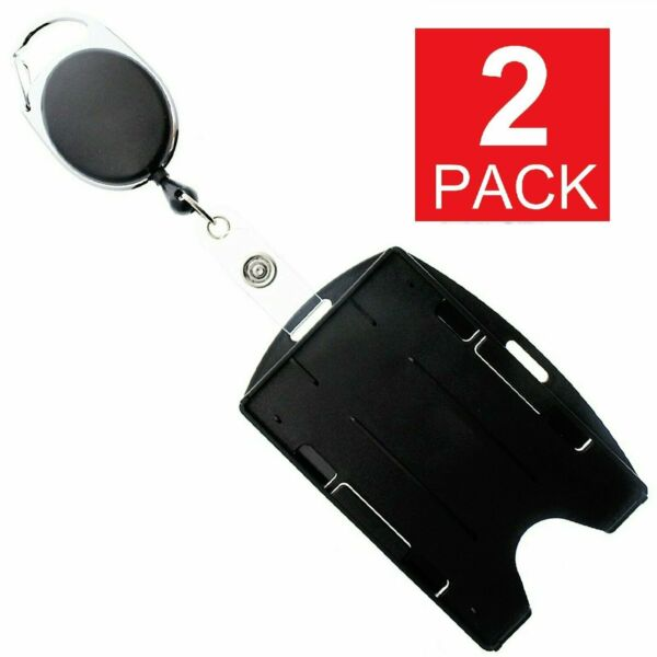 2 Pack Card ID Holder with Retractable Badge Reel w Carabiner amp; Belt Clip $5.45