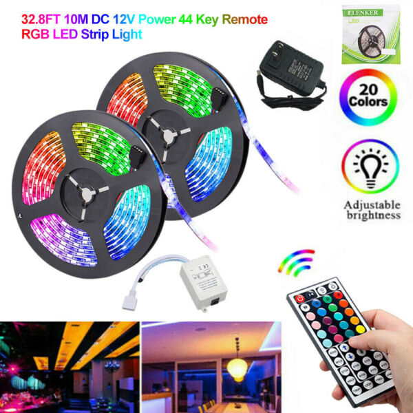 32.8Ft 10M SMD 5050 300 Led Strip Light RGB Remote Control Kit with Power Supply