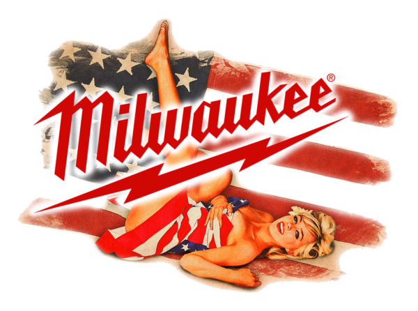 MILWAUKEE TOOLS STICKER DECAL SEXY FLAG GIRL MECHANIC GLOSSY LABEL TOOL BOX USA