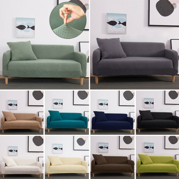 Universal Fleece Sofa Cover Elastic Slipcover Non-slip Seat Couch Stretch Covers $6.99