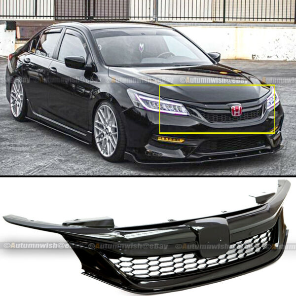 For 16 17 9th Gen Honda Accord Semi Glossy Black JDM Sport Style Front Grille