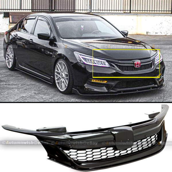For 16-17 9th Gen Honda Accord Sedan Glossy Black JDM Sport Style Front Grille