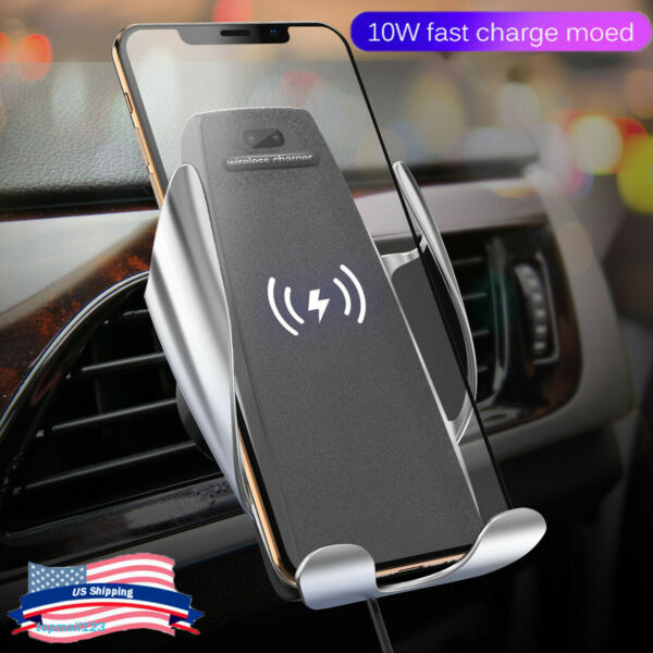 Qi Wireless Automatic Car Charging Charger Mount 360° Air Vent Phone Holder 10W