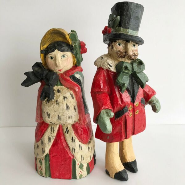 VINTAGE HOUSE OF HATTEN VICTORIAN CHRISTMAS COUPLE FIGURINES DENISE CALLE 1991