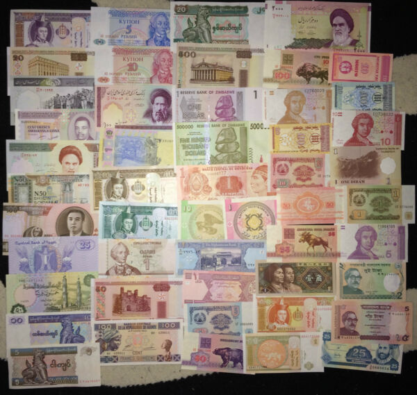 50 DIFFERENT BANKNOTES FROM MANY DIFFERENT COUNTRIES  (50 UNC NOTES )