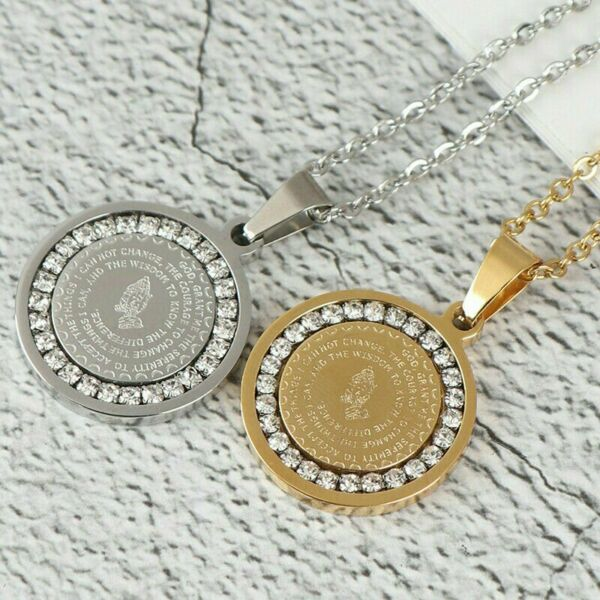 Men#x27;s Stainless Steel Rhinestone Bible Text Prayer Tag Pendant Necklace Chain