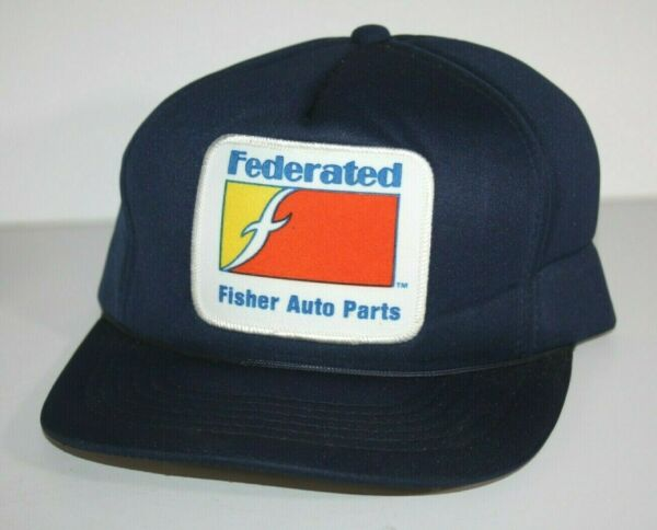 VINTAGE Federated Fisher Auto Parts Navy Blue Hat Cap Mesh Foam Patch New $12.99