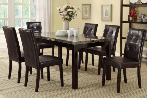 Button Tufted Back Cover Dining Room 7 Pc Dining Set Table Chair Brown Furniture