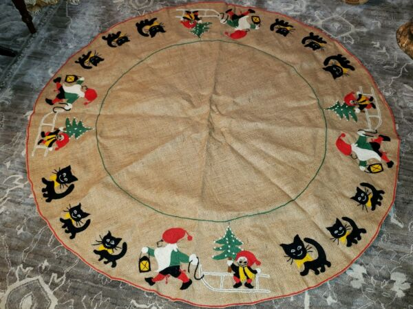 Vintage Burlap Christmas Tree Skirt Elf Elves Black Cats Hand Sewn Cute