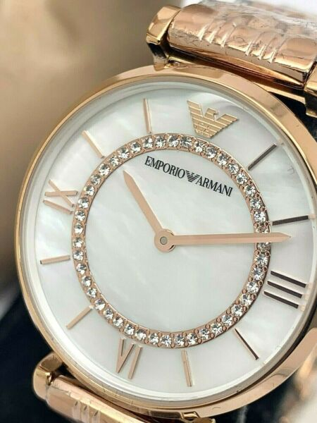 Emporio Armani Women's Watch MOP Rose Gold Tone Pave Stainless Steel AR1909
