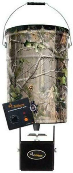 Galvanized Steel Pail and Game Feeder Deer Hunting 6.5 Gal Hanging Camo Barrel