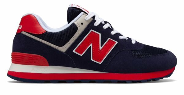 New Balance Men's 574 Essentials Shoes Navy with Red