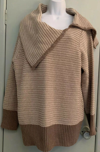 Willi Smith Taupe Ivory Sweater Cowl Flap Hook Collar Contrast Cuffs