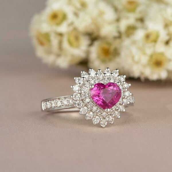2Ct Heart Cut Pink Sapphire Halo Engagement Wedding Ring 14k White Gold Finish