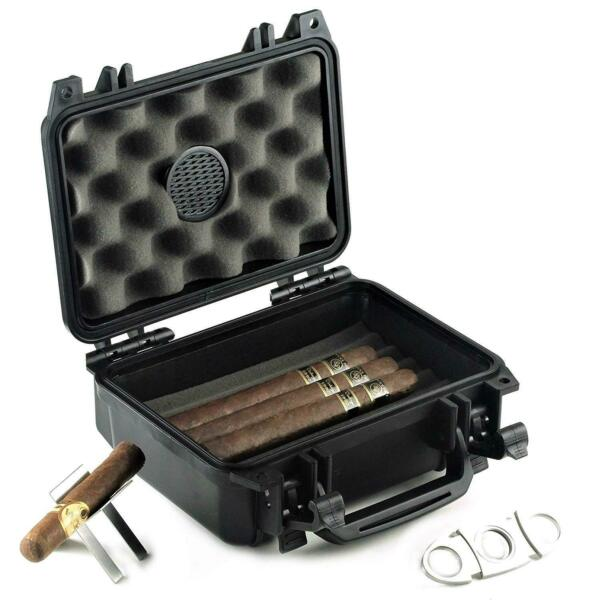 Waterproof Travel Cigar Humidor Case Holds up to 20 Cigars with Accessories