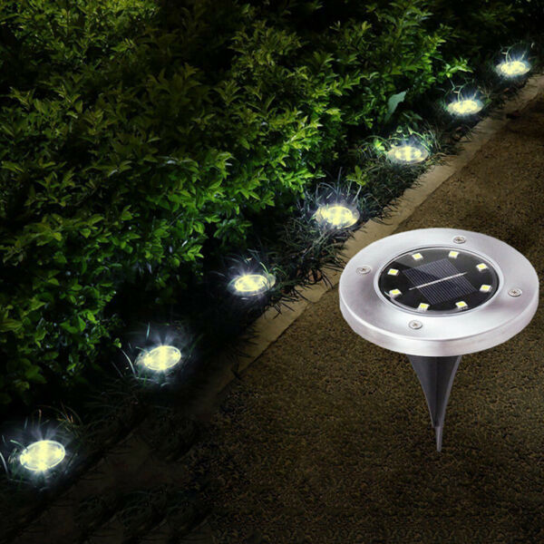 8 LED Outdoor Garden Solar Power Pathway Lights Landscape Lawn Patio Yard Lamp