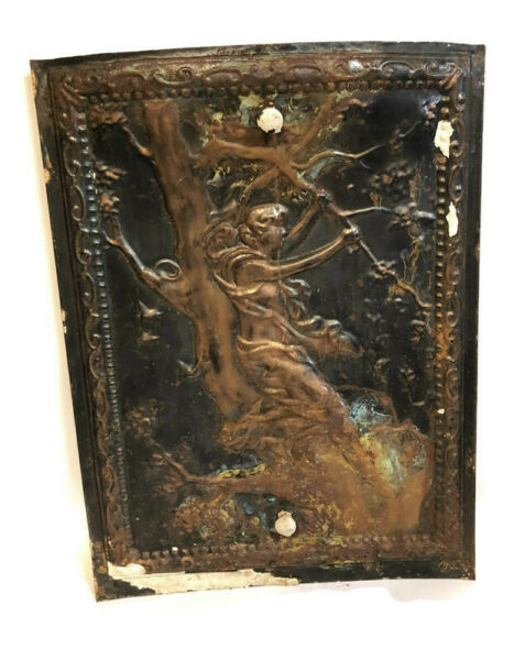 ANTIQUE VICTORIAN TIN ORNATE SUMMER FIREPLACE COVER DOOR WOMAN IN TREE 27 X 20