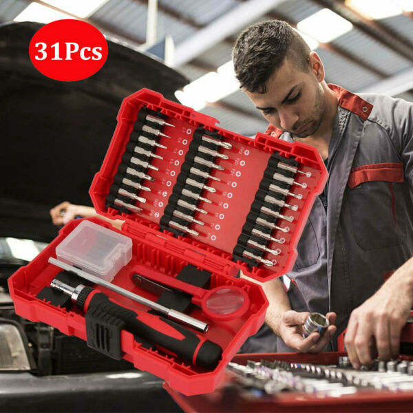 31Pc Home Professional Hand Tool Ratchet Screwdriver Repair Kit Set with Red Box