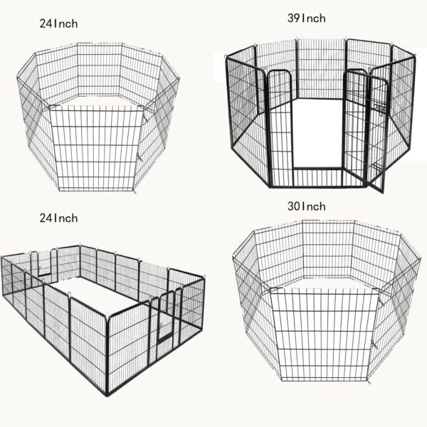 """8 16panel 24""""30quot;39quot; Metal Dog Cat Exercise Fence Playpen Kennel Safe For Pet $41.99"""