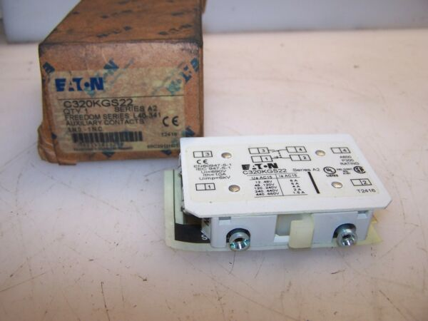 NEW EATON FREEDOM SERIES AUXILIARY CONTACT 1 NO 1 NC C320KGS22