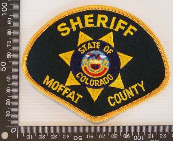 VINTAGE MOFFAT COUNTY SHERIFF CO USA EMBROIDERED PATCH WOVEN CLOTH SEW ON BADGE
