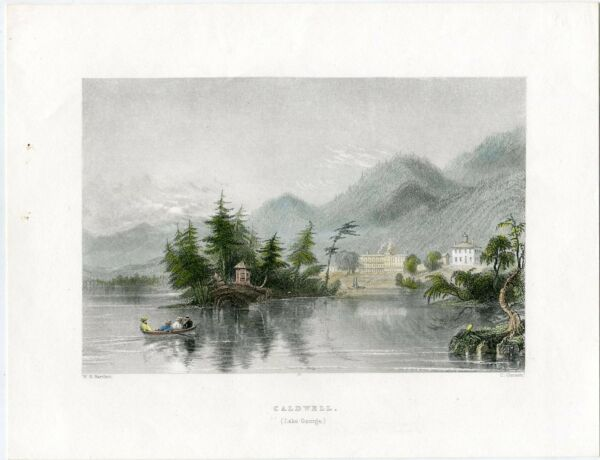 USA New York. Caldwell (Lake George) Engraving By C.Cousen Drew W. H. Barl