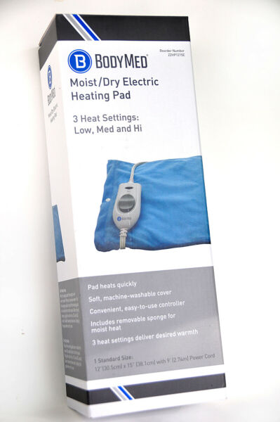 ELECTRIC HEATING PAD BodyMed MOIST DRY Washable Cover w 3 Settings New $25.45