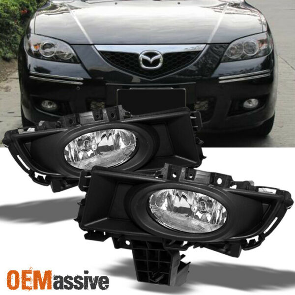 Fit 2007-2009 Mazda 3 Mazda3 Sedan Bumper Fog Lights w/Bulbs+Switch 07-09 L+R