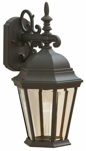 CORAMDEO Outdoor Large Hex Angled Glass LED Wall Lantern Wet Location Built in $99.99