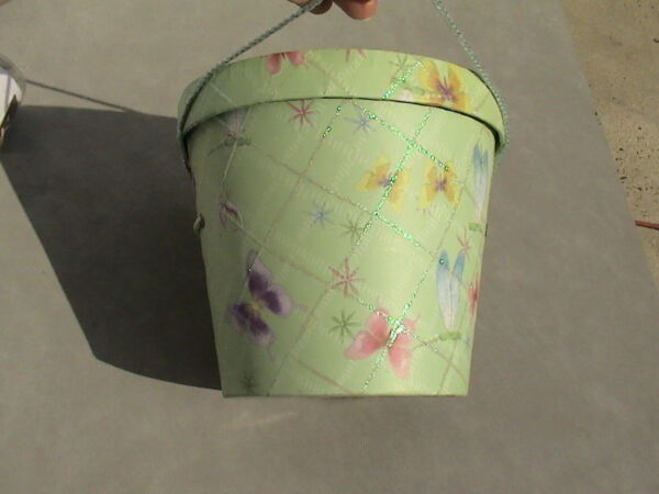 glittery butterfly dragonfly flower pail box w handle 8