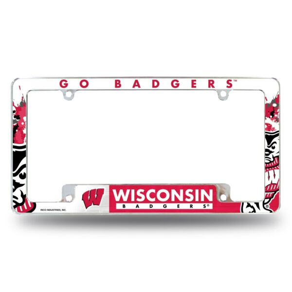 Wisconsin Badgers Chrome ALL OVER Premium License Plate Frame Cover Truck Car