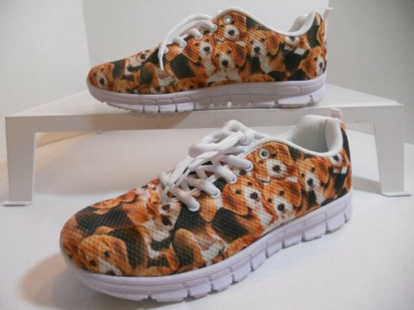Athletic Shoes with Dog Patterns Men#x27;s 7 Women#x27;s 9 $12.00