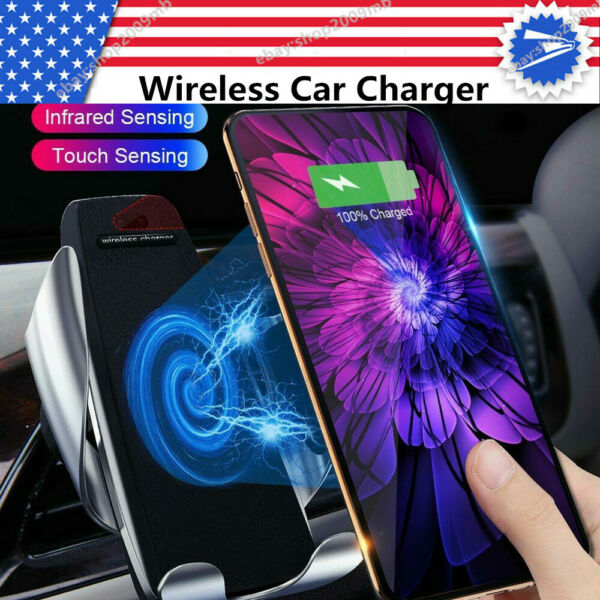 Automatic Clamping Car Wireless Quick Charger 10W 360° Air Vent Phone Holder US