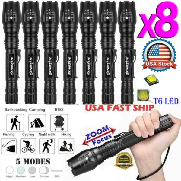 Tactical 90000LM Zoomable Focus LED T6 Flashlight 18650 High Power LED Torch US