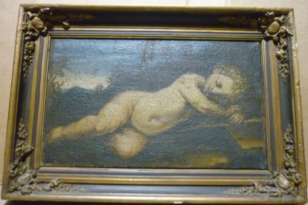 oil canvas painting cherub angel boy cupid 18th century old master burlap reline