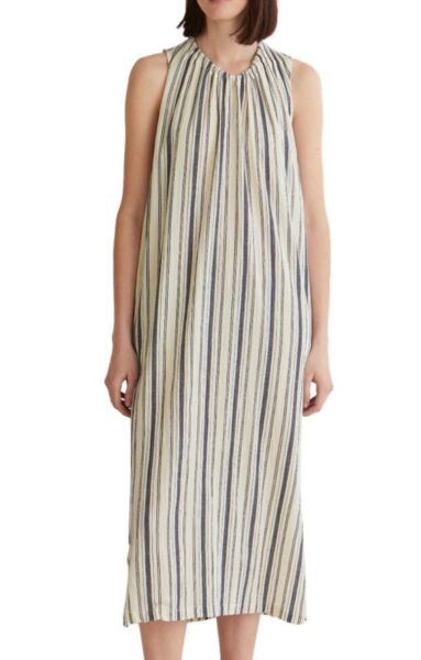 NEW TOAST CREPE STRIPE DRESS COLOUR ECRU DENIM BLUE SIZE MEDIUM UK 1214