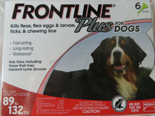 FRONTLINE PLUS DOGS 89-132Lbs FLEA & TICK CONTROL 6 DOSES NEW SEALED $58.85