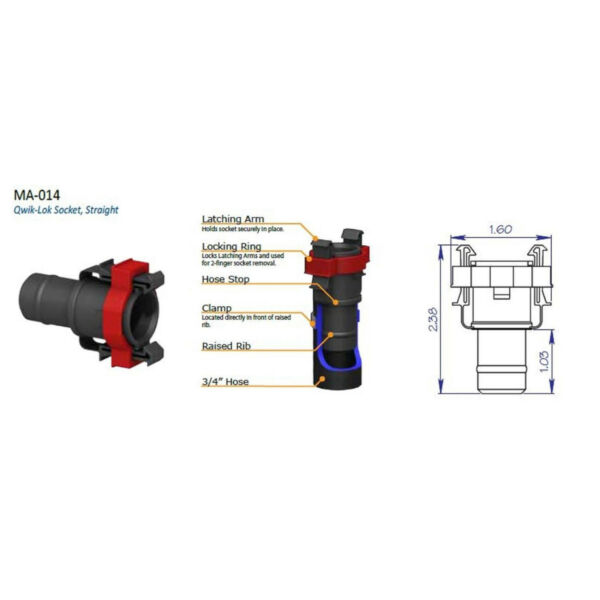Qwik Loc Flow Rite 3 4 Straight Socket MA 014 Livewell Plumbing Fitting