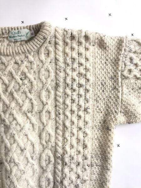 Quills Woollen Market M Ireland Fisherman Cable Knit Wool Chunky Ivory Womens