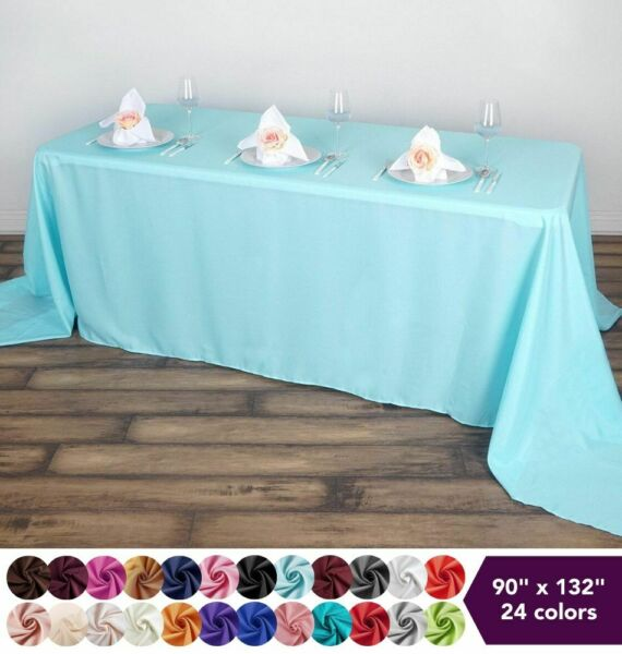 90quot;x132quot; Polyester Tablecloth Wedding Party Table Linens Events Dining Kitchen