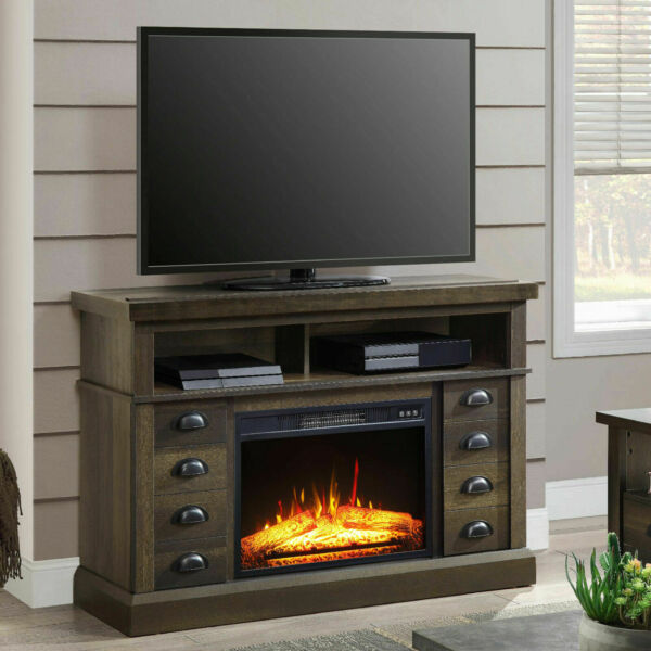 TV Stand Media Fireplace Heater Entertainment Storage Wood Console Electric 55