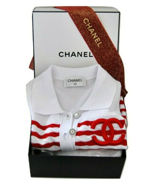 Nautical Chanel Striped Top Polo Shirt Blouse 68 White Red with Box and Ribbon