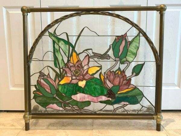 Impressive Signed Floral Stained Glass Fireplace Screen