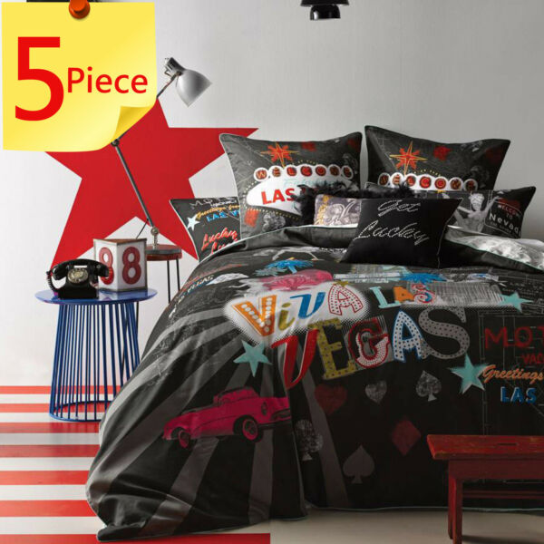 Viva Las Vegas Quilt Doona Cover Set by Linen House 5 Piece Get lucky King AU $249.95