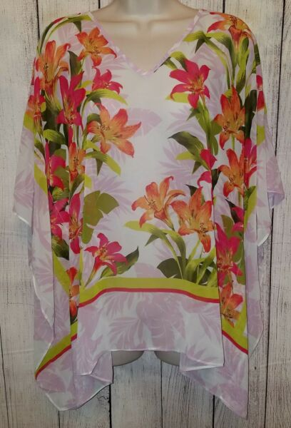 Womens Susan Graver Floral Print Sheer Scarf Blouse Top Shirt Size Small